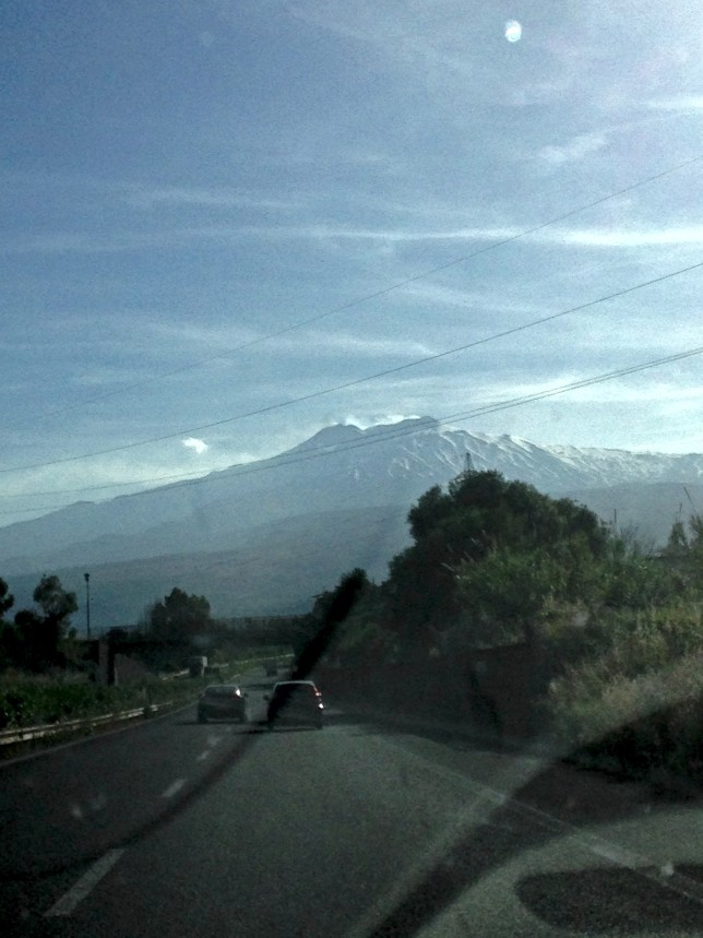 Mt. Etna (through the windshield)