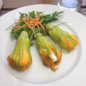 Stuffed pumpkin blossoms