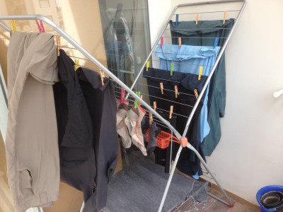 Most of my current wardrobe, drying.