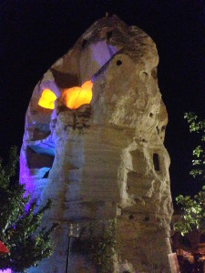 This giant carved out rock lights up and looks like a face...