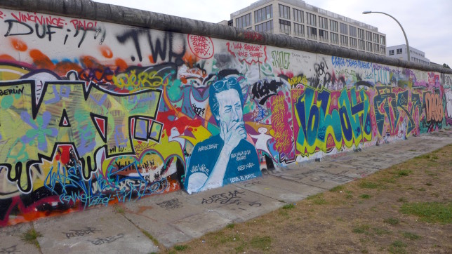 The backside of the East Side Gallery. All graffiti, no planned murals.