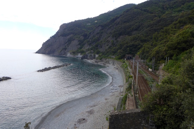 Beach by the train tracks that head to the Cinque Terre