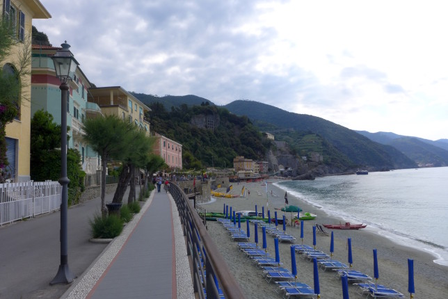 Monterosso al Mare. The trail starts at the end of the beach.