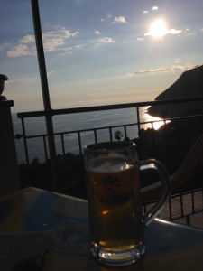 Beer by the water back at the hotel to end the day