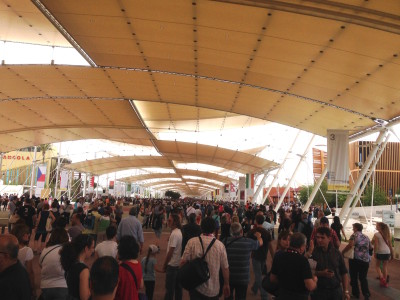 Inside the Expo. Main walkway with pavilions on both sides