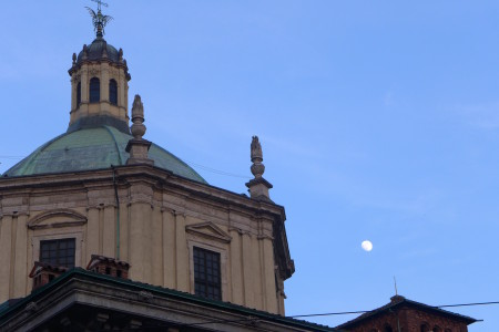 A roof and the moon