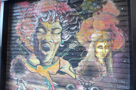 Lots of cool paintings on the pull down shop gates