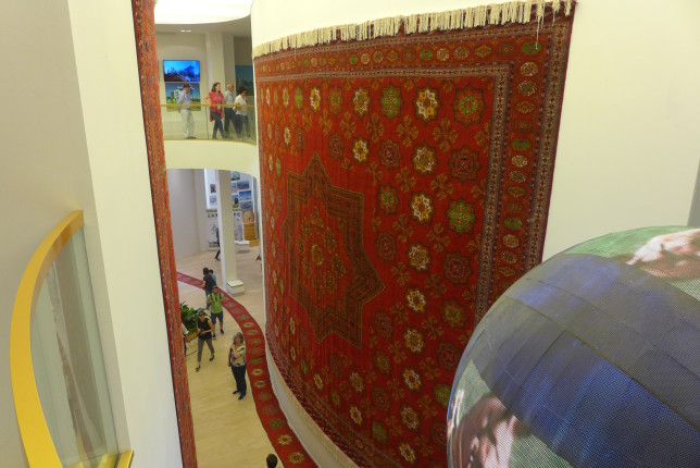 A massive rug in the Turkmenistan Pavilion